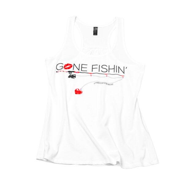 Gone Fishin Ladies White Tank Top